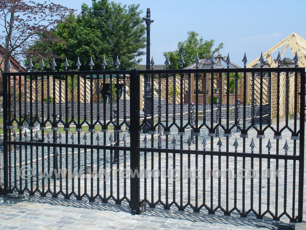 Specially commissioned design for automated gates installed to a property at Hambleton, Over Wyre.