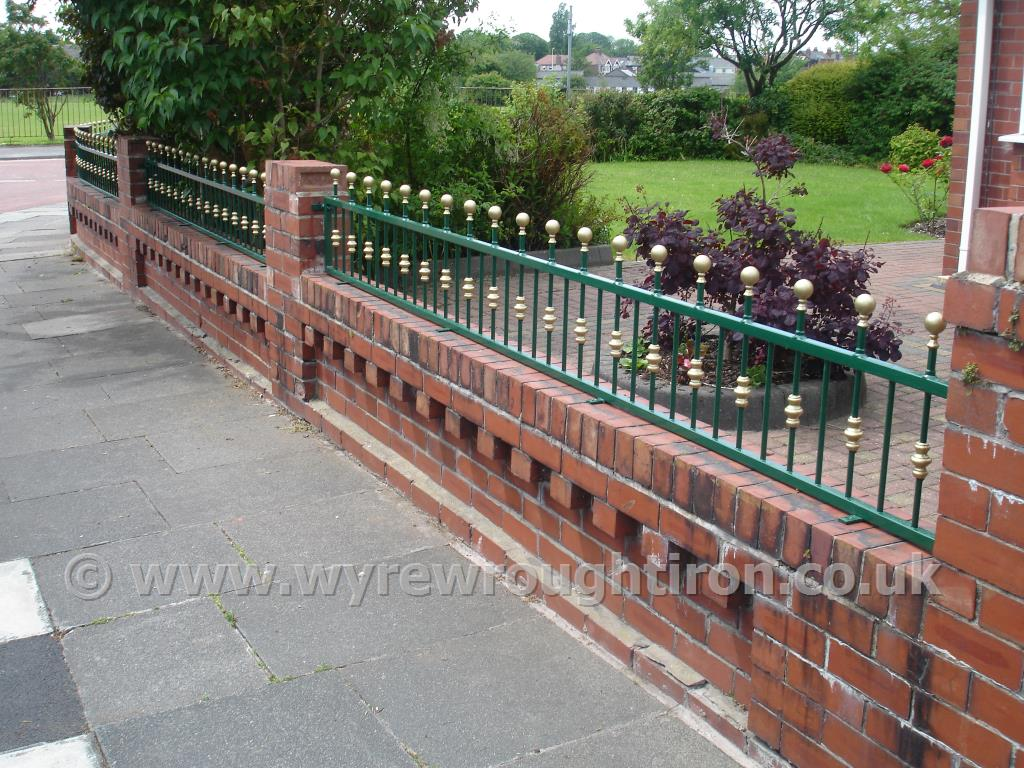 Photo - Wall top railings with ball railheads and hand painted gold finishing, Poulton-le-Fylde